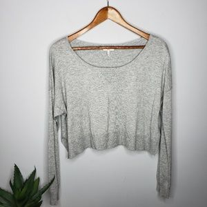 Joie Cashmere Blend Cropped Sweater in Gray